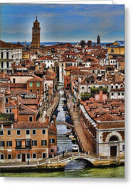 Venetian Canals Greeting Cards - Canal and bridges in Venice Italy Greeting Card by David Smith