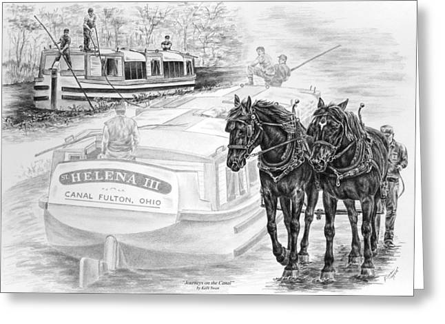 Canal Drawings Greeting Cards - Canal Fulton Ohio Print - Journeys on the Canal Greeting Card by Kelli Swan