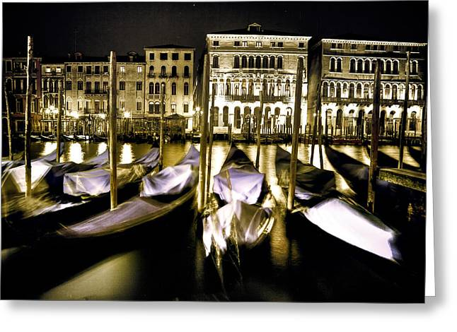 Night Lamp Greeting Cards - Canal Grande Greeting Card by Joana Kruse
