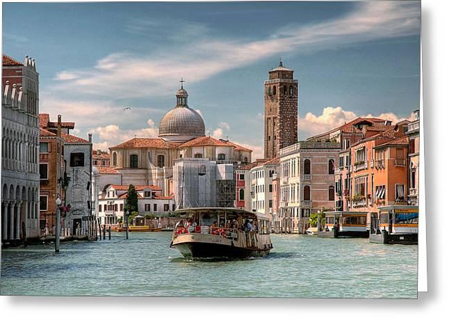 Vaporetto Greeting Cards - Canal Grande. Venezia Greeting Card by Juan Carlos Ferro Duque