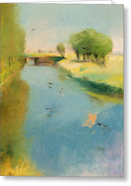 Tree Pastels Greeting Cards - Canal Greeting Card by Lesser Ury