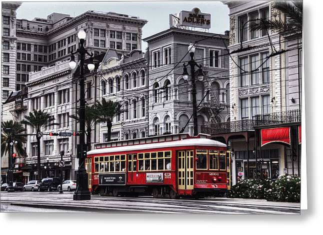 Downtown Greeting Cards - Canal Street Trolley Greeting Card by Tammy Wetzel