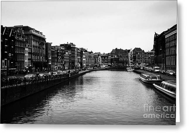 Leslie Leda Greeting Cards - Canals of Amsterdam Greeting Card by Leslie Leda