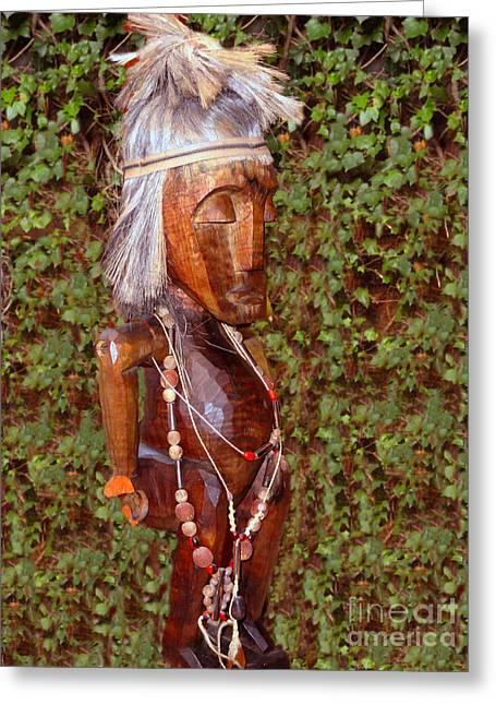 Wooden Sculpture Greeting Cards - Canari Medicine Man Greeting Card by Al Bourassa