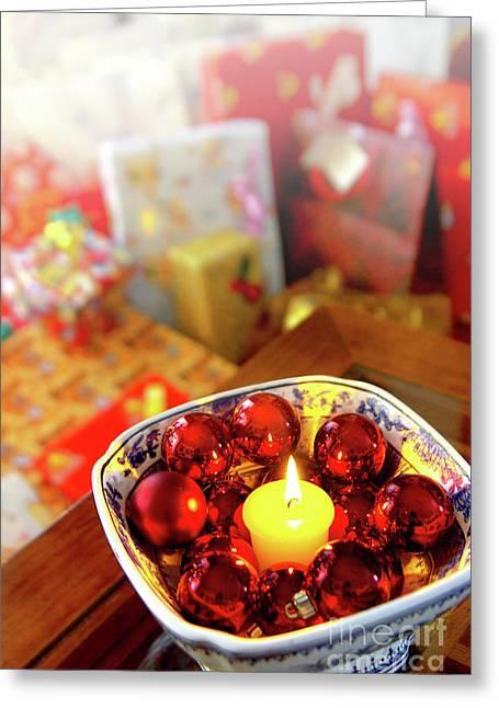 Navidad Greeting Cards - Candle and balls Greeting Card by Carlos Caetano