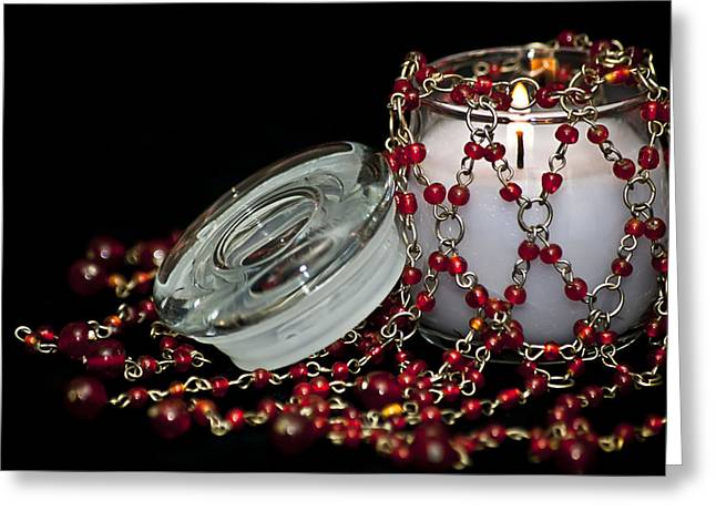 Candle Lit Greeting Cards - Candle and Beads Greeting Card by Carolyn Marshall