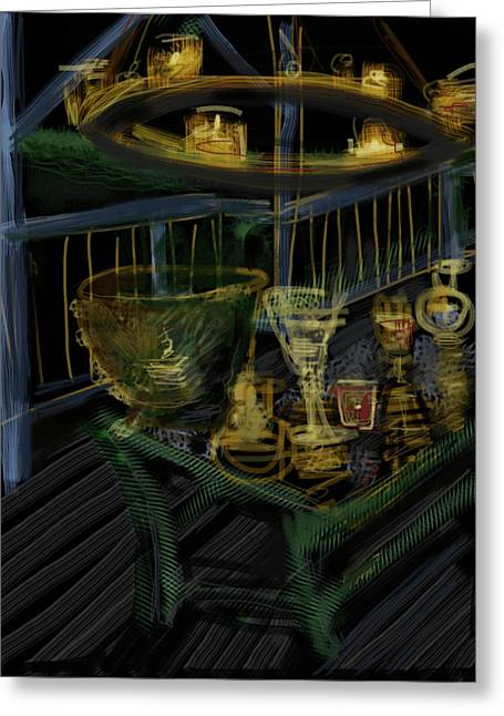 Glass Table Reflection Mixed Media Greeting Cards - Candle Glow Greeting Card by Russell Pierce