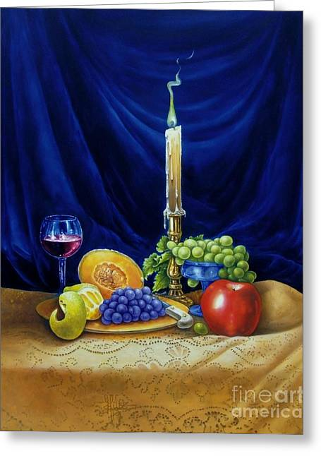 Candle Greeting Cards - Candle Light and Wine Greeting Card by Gilee Barton