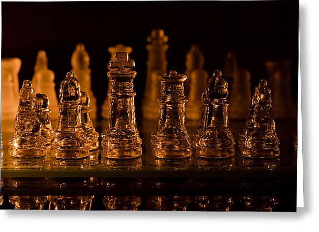 Game Piece Greeting Cards - Candle Lit Chess Men Greeting Card by Lori Coleman