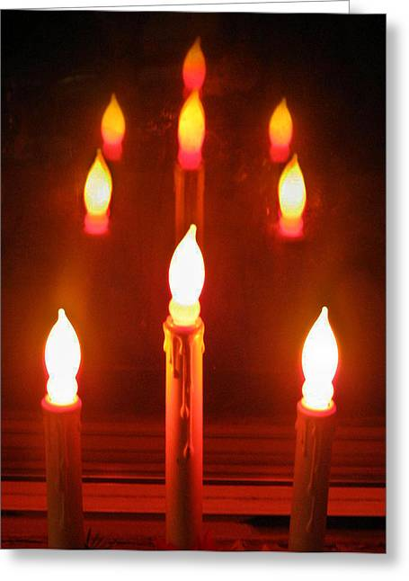 Candle Lit Greeting Cards - Candle Reflection Greeting Card by Denise Keegan Frawley