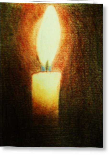 Aura Drawings Greeting Cards - Candlelight Greeting Card by Marie Higgins