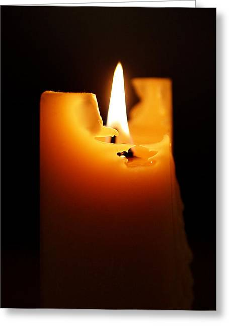 Yellow Art Greeting Cards - Candlelight Greeting Card by Rona Black