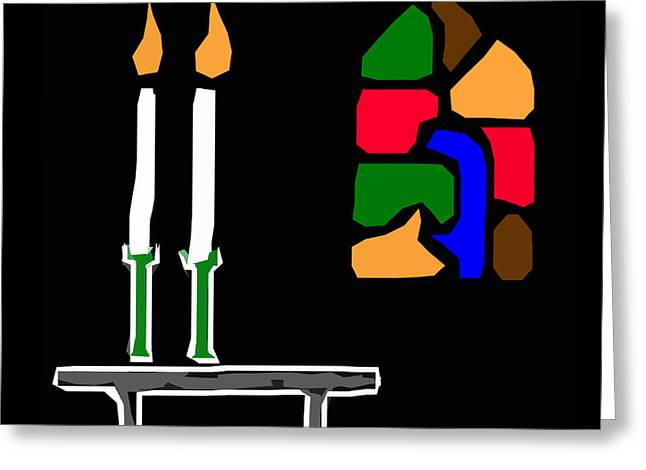 James Hill Greeting Cards - Candles and Stained Glass Window Greeting Card by James Hill