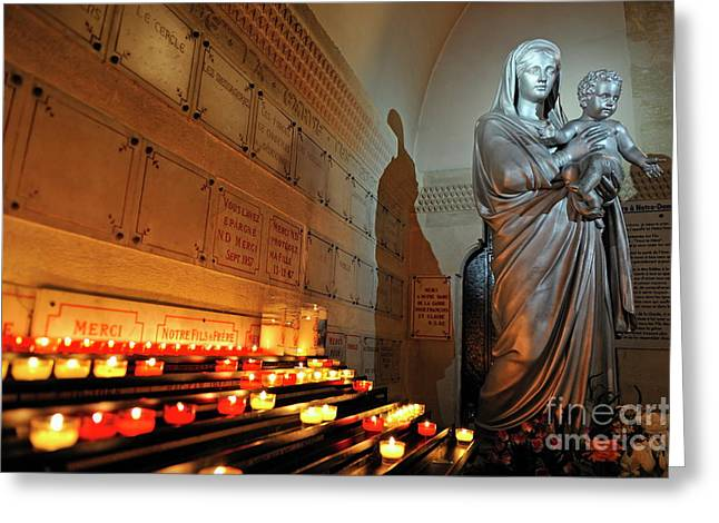 Burning Statue Greeting Cards - Candles and Virgin Mary with Infant Greeting Card by Sami Sarkis