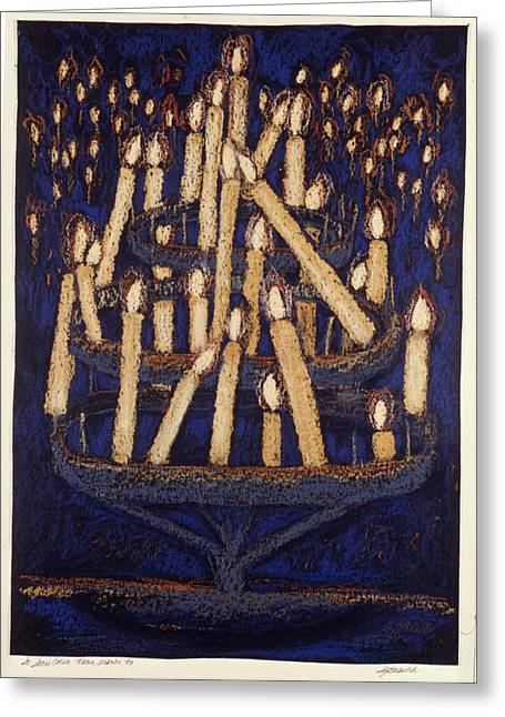 Saint Hope Paintings Greeting Cards - Candles in Sacre Couer Greeting Card by Susan  Brasch