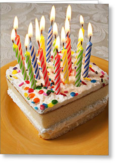 Flame Greeting Cards - Candles on birthday cake Greeting Card by Garry Gay