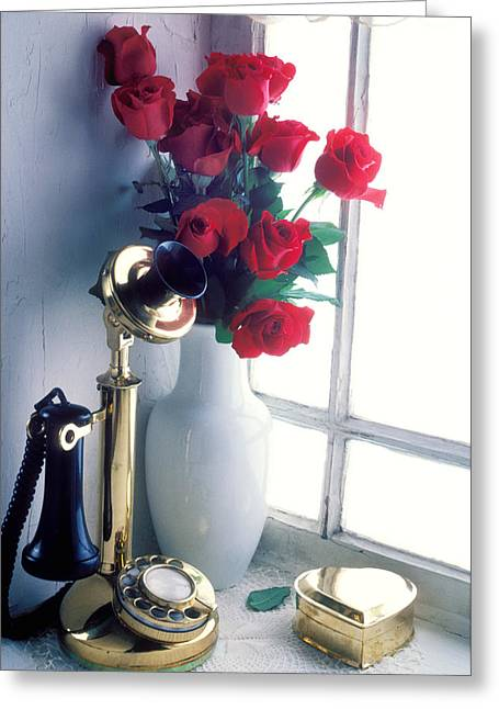 Candlestick Phone In Window Greeting Card by Garry Gay