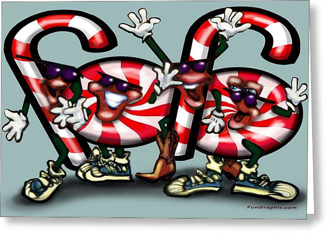 Humorous Greeting Cards - Candy Cane Gang Greeting Card by Kevin Middleton