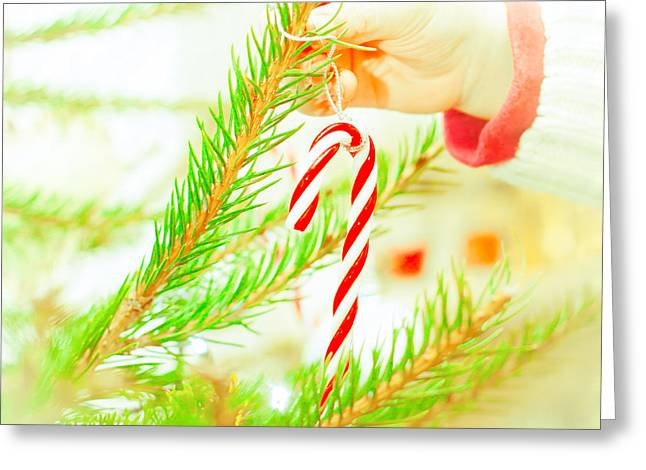 Eve Greeting Cards - Candy cane Greeting Card by Tom Gowanlock