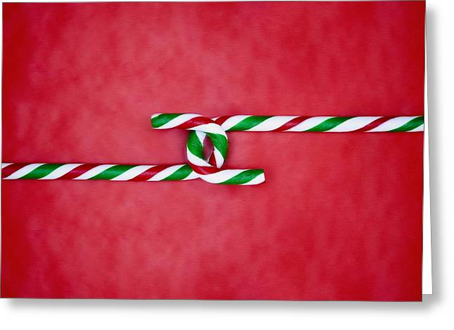 Special Occasion Greeting Cards - Candy Canes Joined Together Greeting Card by Carson Ganci