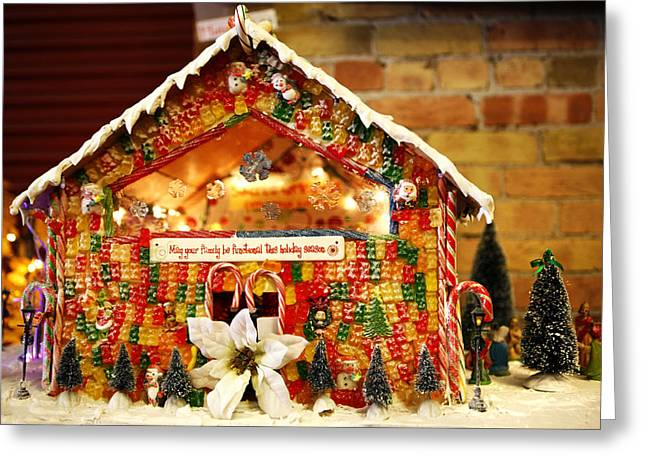 Gummy Candy Greeting Cards - Candy Gingerbread House Greeting Card by Marilyn Hunt