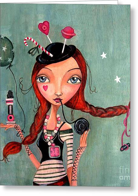 Sweat Paintings Greeting Cards - Candy Girl  Greeting Card by Caroline Bonne-Muller