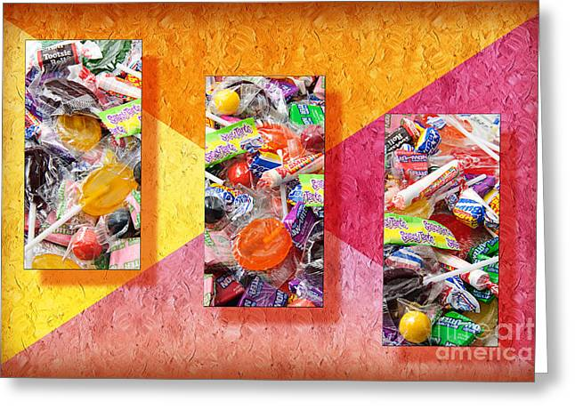 Assorted Mixed Media Greeting Cards - Candy Is Dandy Triptych Greeting Card by Andee Design