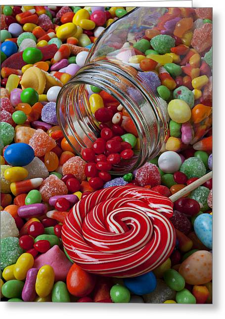 Color Colorful Greeting Cards - Candy jar spilling candy Greeting Card by Garry Gay