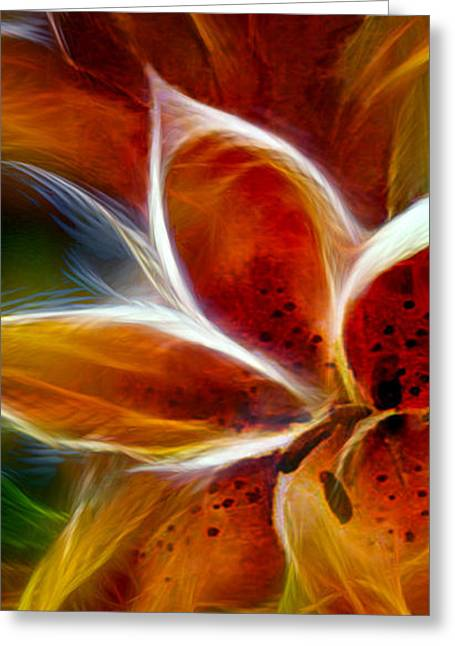Vibrant Greeting Cards - Candy Lily Fractal Panel 1 Greeting Card by Peter Piatt