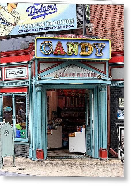 Sophie Vigneault. Greeting Cards - Candy Store Cartoon Greeting Card by Sophie Vigneault