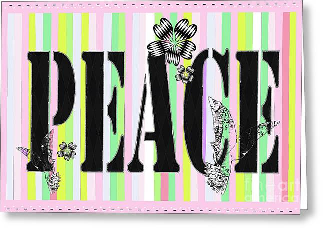 Candy Stripe Peace Juvenile Licensing Greeting Card by Anahi DeCandy