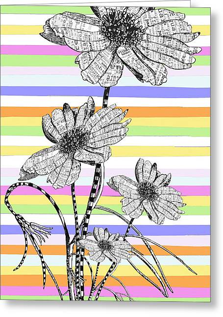 Candy Stripes Happy Flowers Juvenile Licensing Greeting Card by Anahi DeCanio