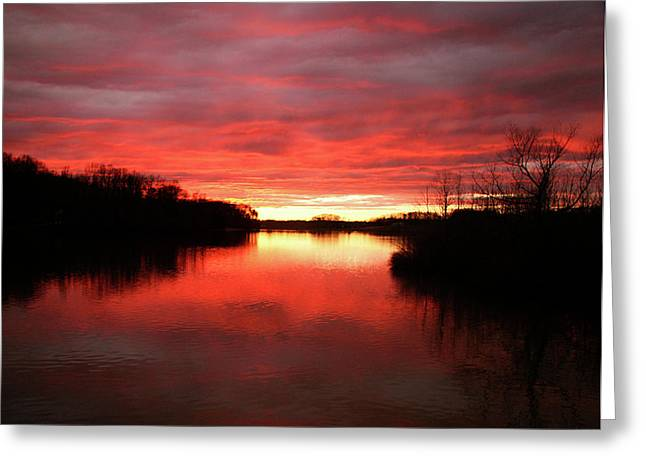 Cane Creek Greeting Cards - Cane Creek Lake Sunset Greeting Card by Brian Stamm