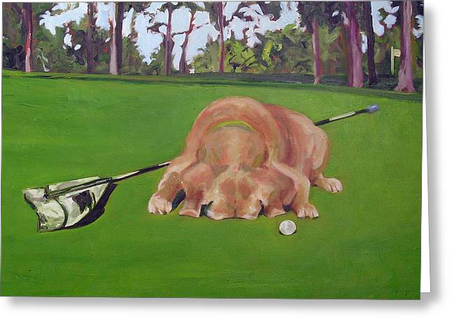 Caddy Paintings Greeting Cards - Canine Caddy Greeting Card by Molly Wright