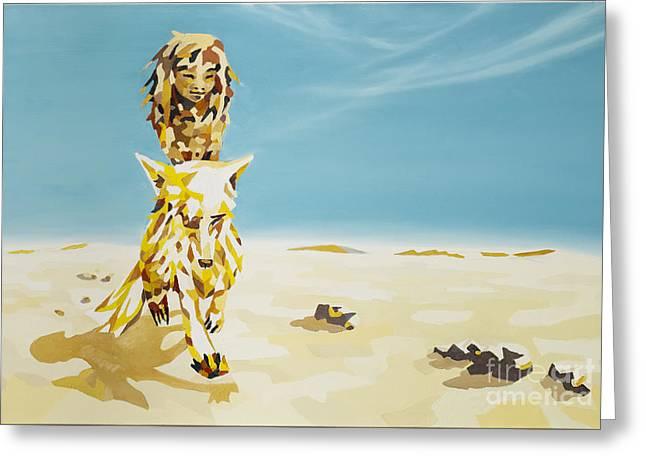 Fairytale Greeting Cards - Canis Lupus Desertorum - Der Wuestenwolf Greeting Card by Florian Divi