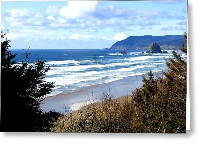 Ocean Vista Greeting Cards - Cannon Beach Vista Greeting Card by Will Borden