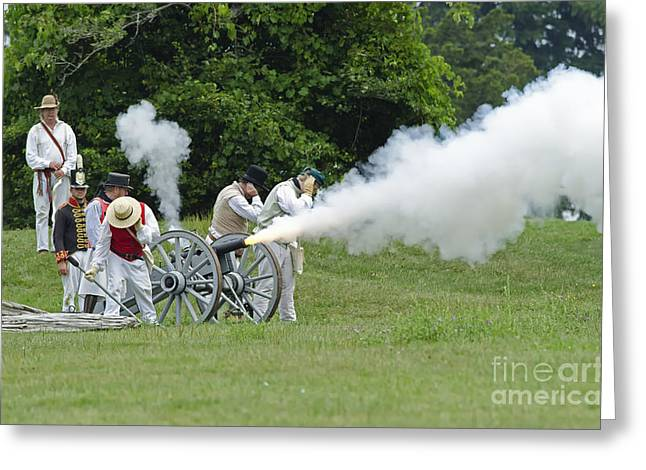 In 1812 Greeting Cards - Cannon Fire Greeting Card by JT Lewis
