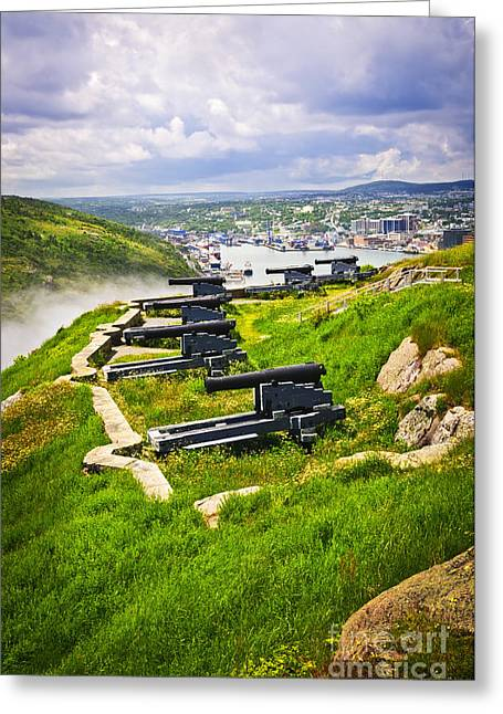 Ocean Panorama Greeting Cards - Cannons on Signal Hill near St. Johns Greeting Card by Elena Elisseeva