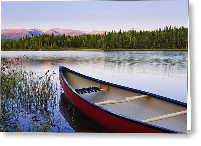 Canoe Photographs Greeting Cards - Canoe And Boya Lake At Sunset, Boya Greeting Card by Yves Marcoux