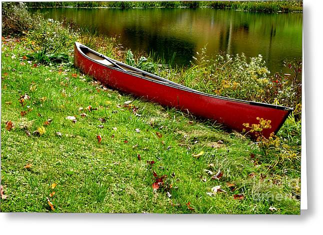 Canoe And Reflections Greeting Card by Thomas R Fletcher