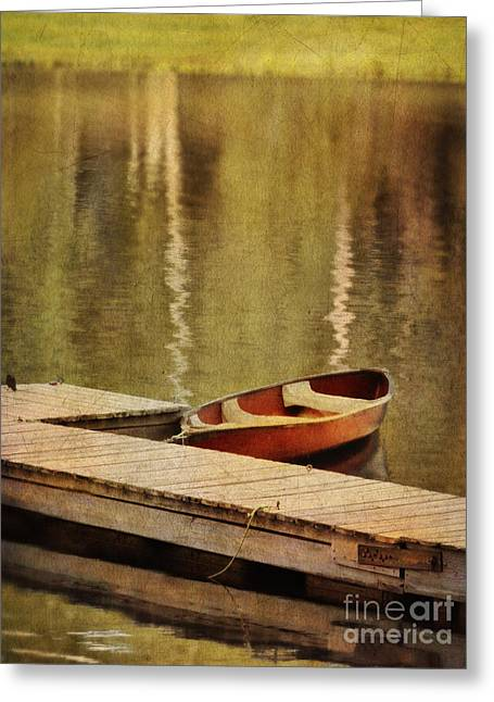 Canoe Photographs Greeting Cards - Canoe at Dock Greeting Card by Jill Battaglia