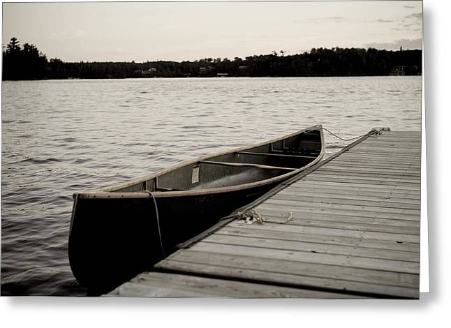 Free Of Peace Greeting Cards - Canoe At Dock, Lake Of The Woods Greeting Card by Keith Levit