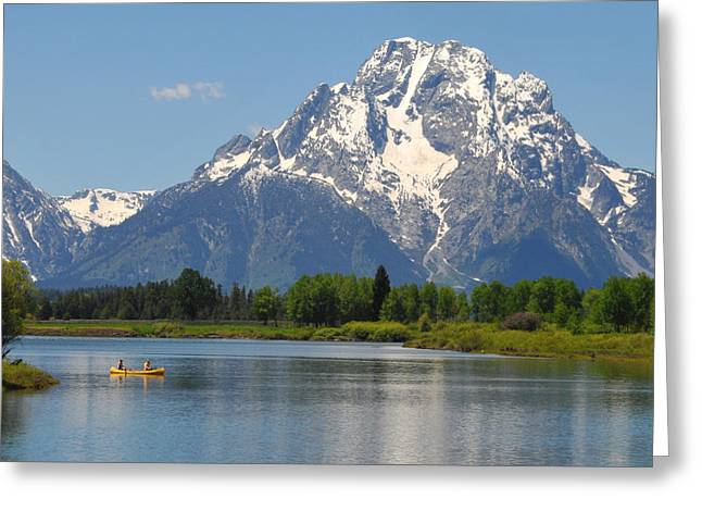 Yellow Canoe Greeting Cards - Canoe At Oxbow Bend Greeting Card by Alan Lenk