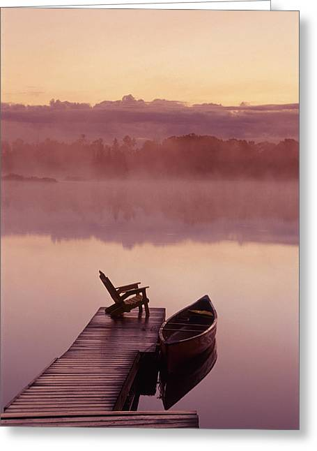 Canoe Photographs Greeting Cards - Canoe Dock, Pinawa, Manitoba Greeting Card by Dave Reede