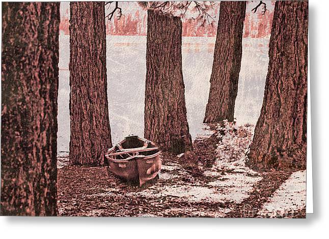 Canoe In The Woods Greeting Card by Cheryl Young