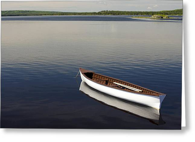 Canoe Photographs Greeting Cards - Canoe On Gander River, Gander Bay Greeting Card by John Sylvester