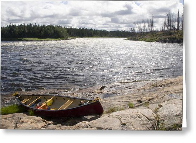 Canoe Pulled Up On The Shore Greeting Card by Skip Brown