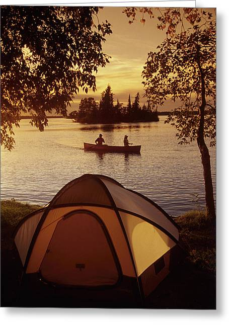 Two Persons Greeting Cards - Canoeing At Otter Falls, Whiteshell Greeting Card by Dave Reede
