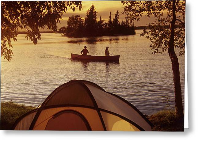 Canoeing At Otter Falls, Whiteshell Greeting Card by Dave Reede