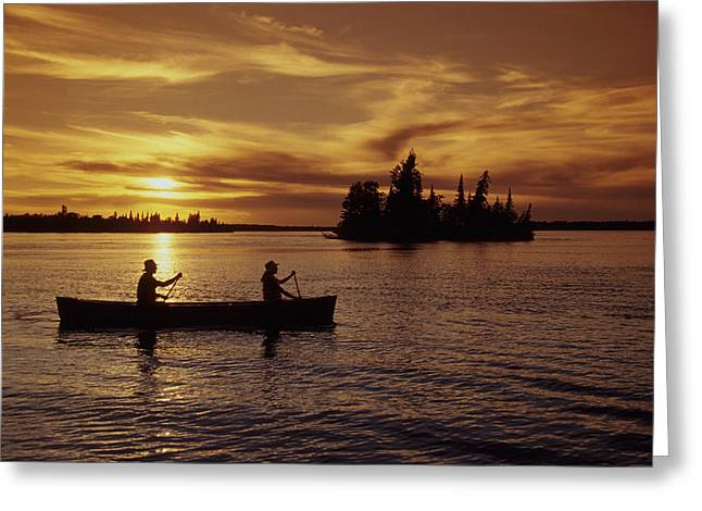 Two Persons Greeting Cards - Canoeing At Sunset, Otter Falls Greeting Card by Dave Reede